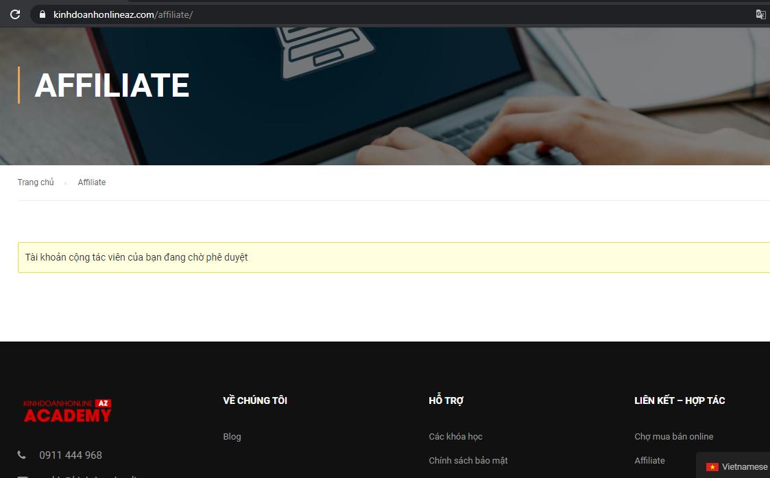 hướng dẫn đăng kí kiếm tiền với affiliate cùng KDONLAZ
