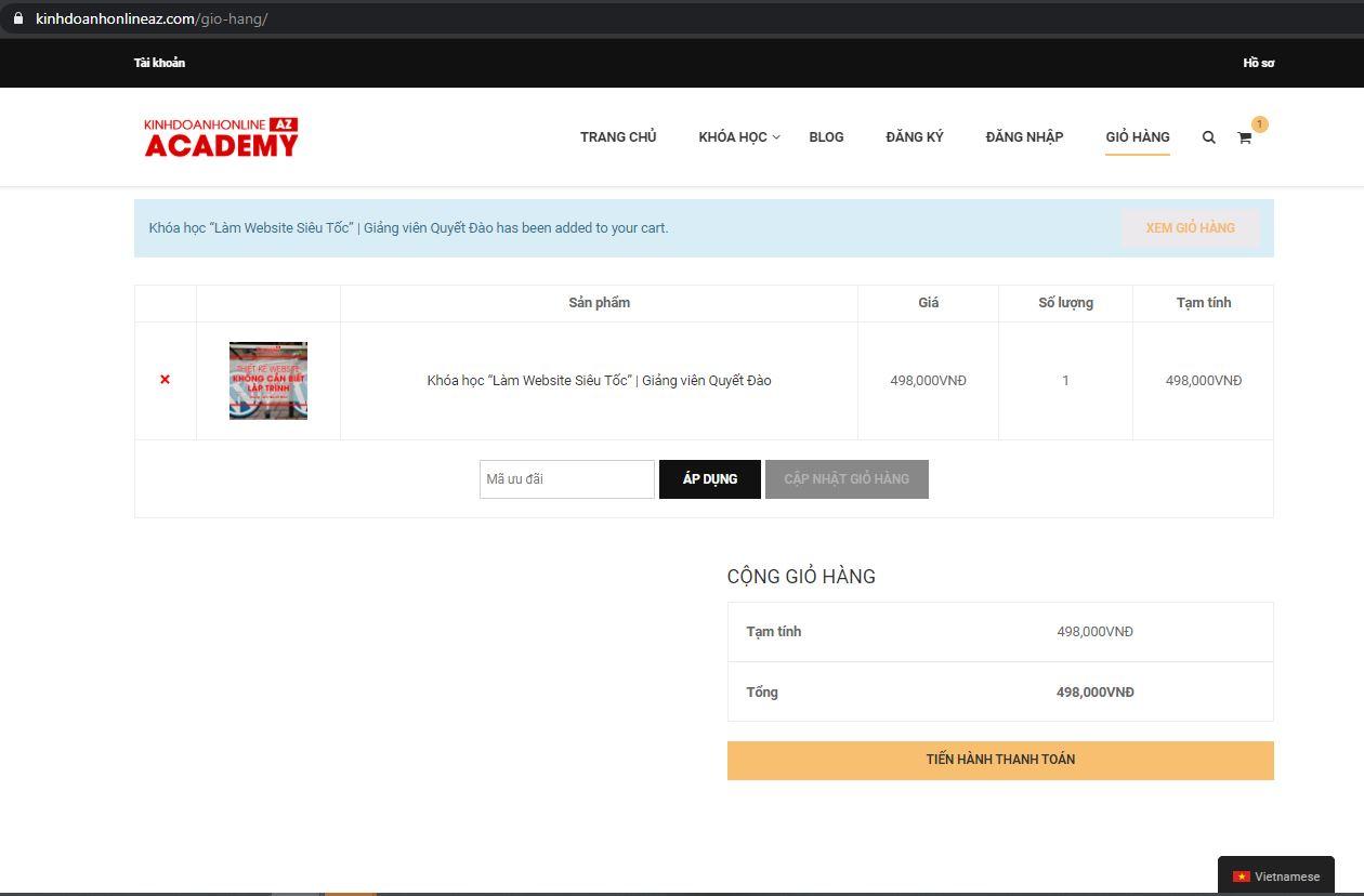 hướng dẫn đăng kí tài khoản và mua khóa học trên học viện kinh doanh online az.com