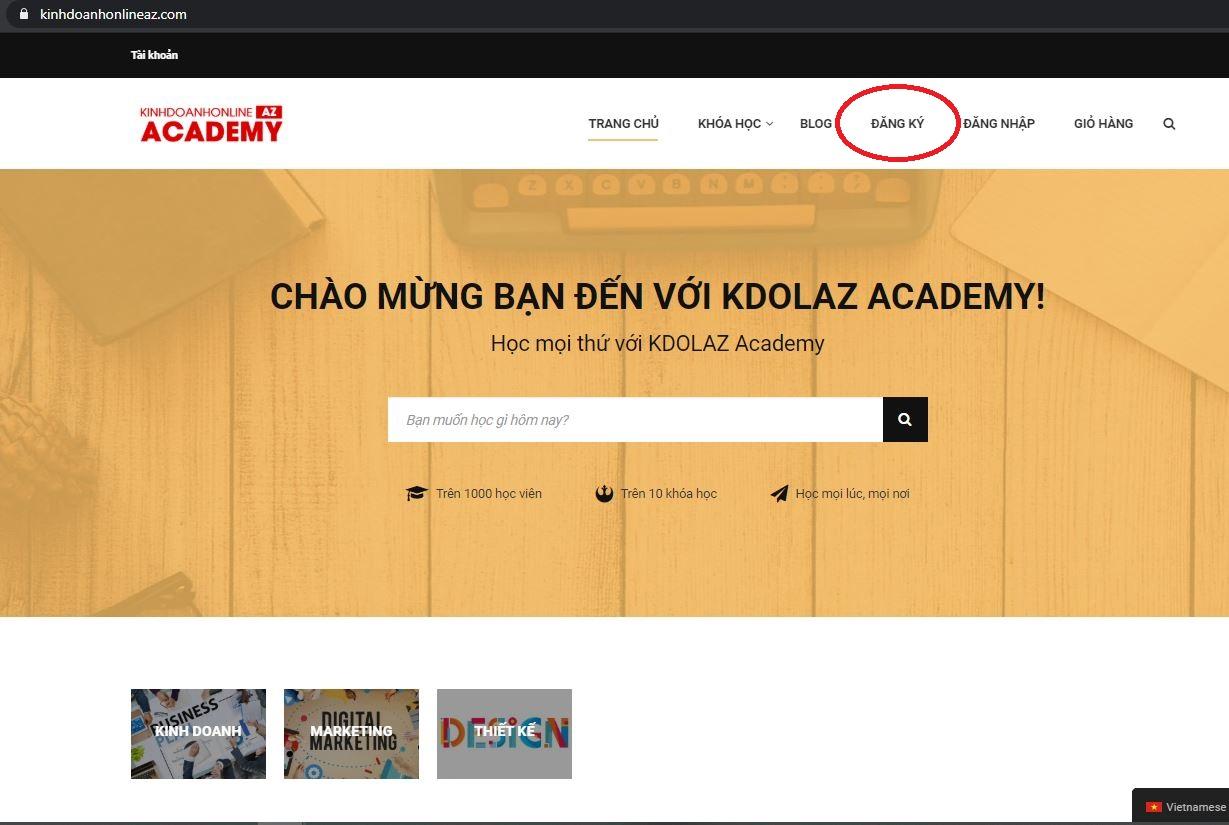 hướng dẫn đăng kí tài khoản và mua khóa học trên học viện kinh doanh online az chấm com